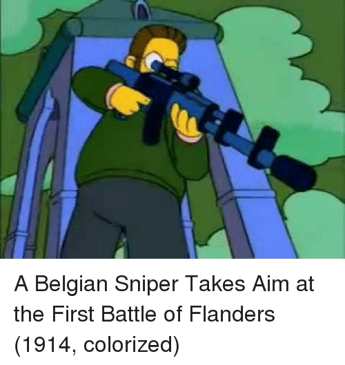 Belgian: A Belgian Sniper Takes Aim at the First Battle of Flanders (1914, colorized)