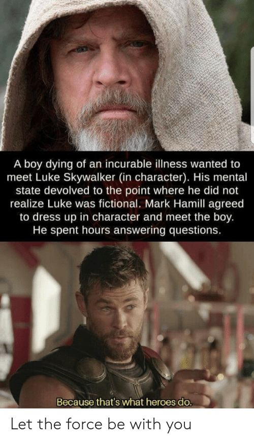 the force: A boy dying of an incurable illness wanted to  meet Luke Skywalker (in character). His mental  state devolved to the point where he did not  realize Luke was fictional. Mark Hamill agreed  to dress up in character and meet the boy.  He spent hours answering questions.  Because that's what heroes do. Let the force be with you