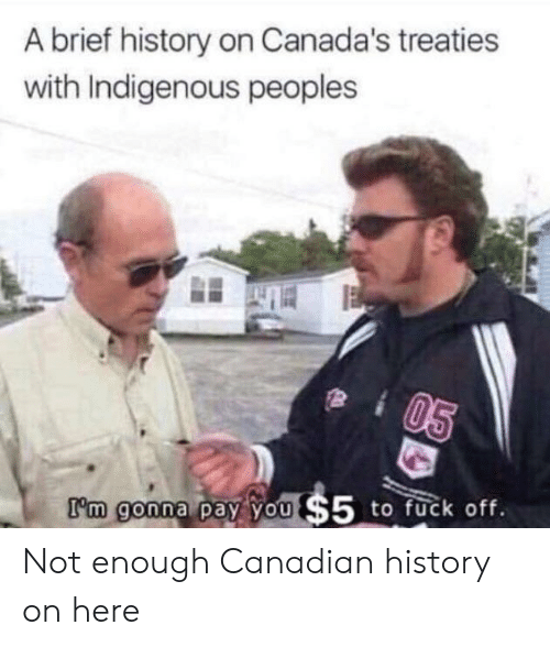 indigenous: A brief history on Canada's treaties  with Indigenous peoples  I'm goona  to fuck off.  m gonna pay YO Not enough Canadian history on here