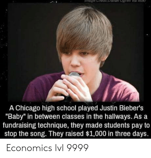 """Chicago, School, and Baby: A Chicago high school played Justin Bieber's  """"Baby"""" in between classes in the hallways. As a  fundraising technique, they made students pay to  stop the song. They raised $1,000 in three days. Economics lvl 9999"""