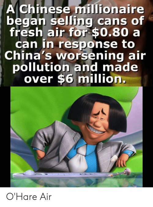 pollution: A Chinese millionaire  began selling cans of  fresh air for $0.80 a  can in response to  China's worsening air  pollution and made  over $6 million. O'Hare Air