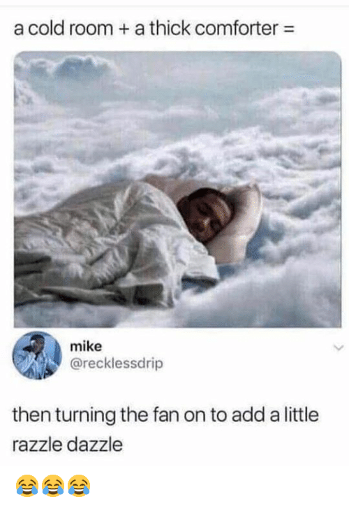 Memes, Cold, and 🤖: a cold room a thick comforter  mike  @recklessdrip  then turning the fan on to add a little  razzle dazzle 😂😂😂