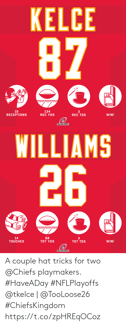 couple: A couple hat tricks for two @Chiefs playmakers. #HaveADay #NFLPlayoffs  @tkelce | @TooLoose26 #ChiefsKingdom https://t.co/zpHREqOCoz