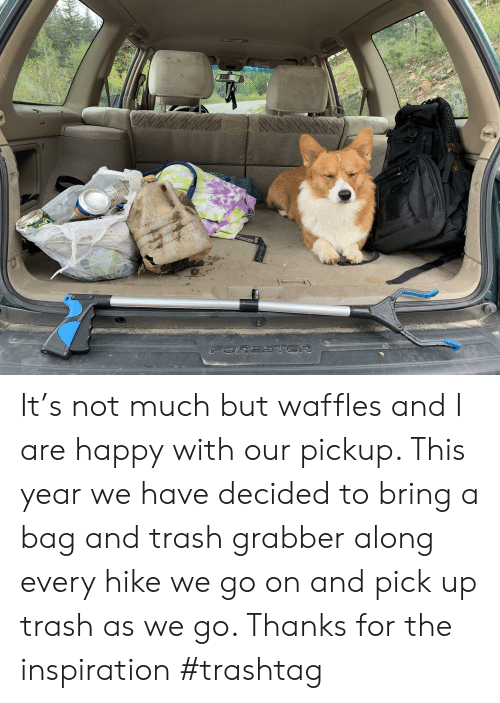 Trash, Happy, and Mexico: A DE MEXICO  Suspension System  10%  FORESTER It's not much but waffles and I are happy with our pickup. This year we have decided to bring a bag and trash grabber along every hike we go on and pick up trash as we go. Thanks for the inspiration #trashtag