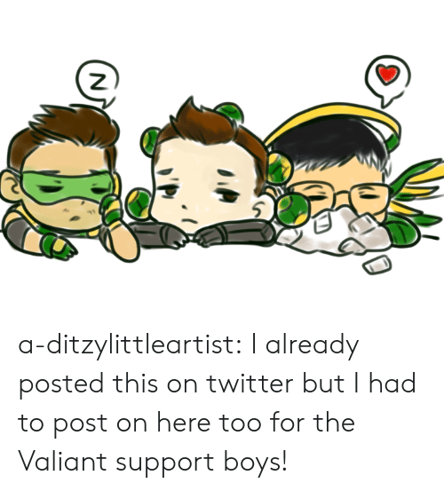 valiant: a-ditzylittleartist:  I already posted this on twitter but I had to post on here too for the Valiant support boys!