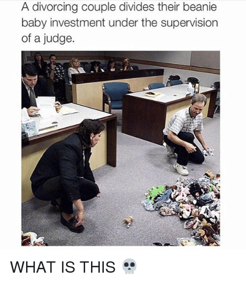 Baby, It's Cold Outside, What Is, and Divorce: A divorcing couple divides their beanie  baby investment under the supervision  of a judge. WHAT IS THIS 💀