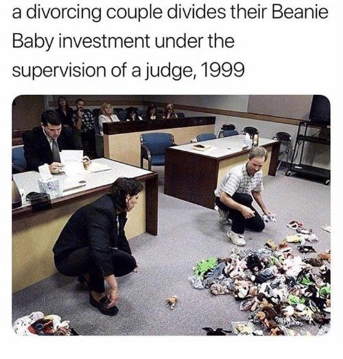 beanie: a divorcing couple divides their Beanie  Baby investment under the  supervision of a judge, 1999