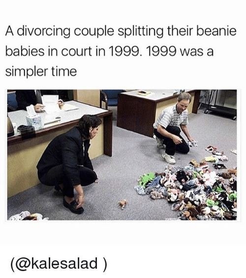 Funny, Meme, and Time: A divorcing couple splitting their beanie  babies in court in 1999. 1999 was a  simpler time (@kalesalad )