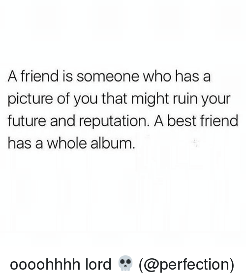 Best Friend, Future, and Best: A friend is someone who has a  picture of you that might ruin your  future and reputation. A best friend  has a whole album oooohhhh lord 💀 (@perfection)