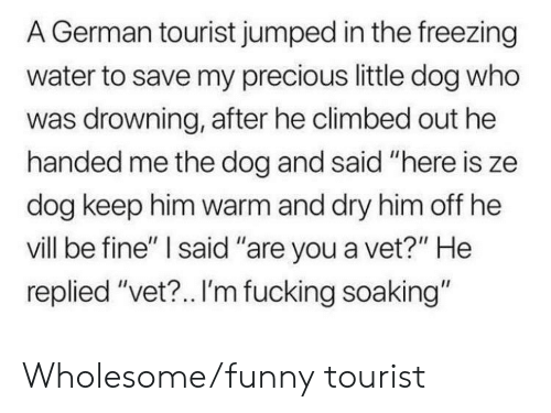 """Fucking, Funny, and Precious: A German tourist jumped in the freezing  water to save my precious little dog who  was drowning, after he climbed out he  handed me the dog and said """"here is ze  dog keep him warm and dry him off he  vill be fine"""" I said """"are you a vet?"""" He  replied """"vet?.. I'm fucking soaking"""" Wholesome/funny tourist"""