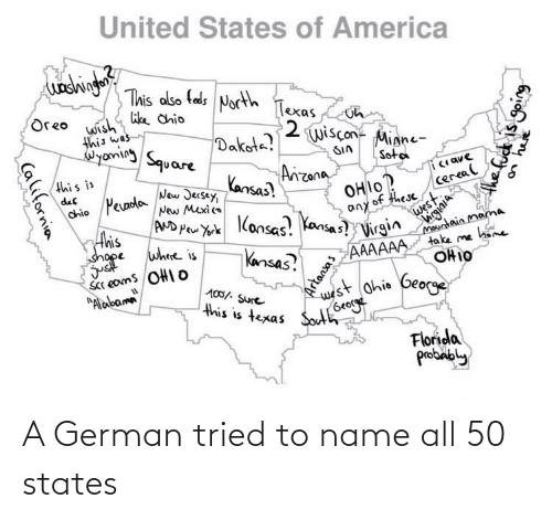 To Name: A German tried to name all 50 states