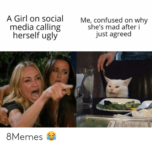Confused, Memes, and Social Media: A Girl on social  media calling  herself ugly  Me, confused on why  she's mad after i  just agreed 8Memes 😂