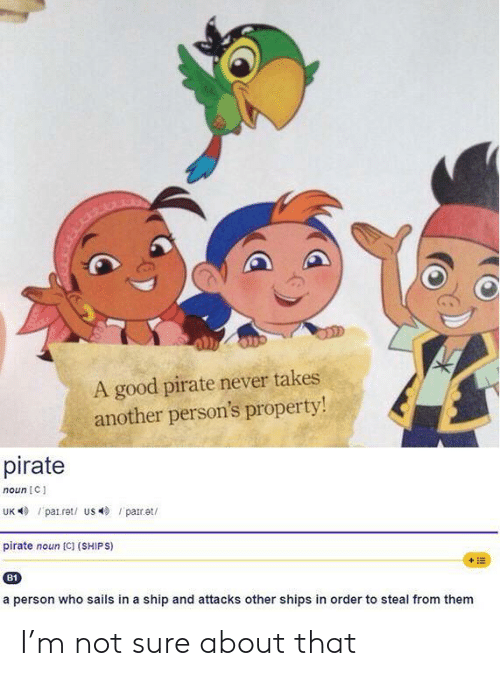 not sure: A good pirate never takes  another person's property!  pirate  noun C  UK patret/ us par.et  pirate noun [C] (SHIPS)  +E  B1  a person who sails in a ship and attacks other shipss in order to steal from them I'm not sure about that