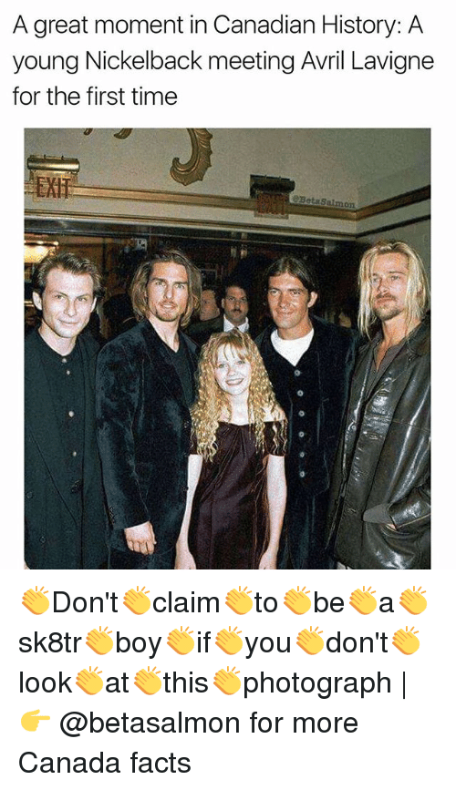Nickelback: A great moment in Canadian History: A  young Nickelback meeting Avril Lavigne  for the first time  BetaSalmon 👏Don't👏claim👏to👏be👏a👏sk8tr👏boy👏if👏you👏don't👏look👏at👏this👏photograph | 👉 @betasalmon for more Canada facts