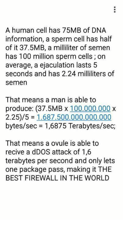 Memes, 🤖, and Sec: A human cell has 75MB of DNA  information, a sperm cell has half  of it 37.5MB, a milliliter of semen  has 100 million sperm cells on  average, a ejaculation lasts 5  seconds and has 2.24 milliliters of  Semen  That means a man is able to  produce: (37.5MB x 100.000.000 x  2.25/5 1.687.500.000.000.000  bytes/sec 1,6875 Terabytes/sec,  That means a ovule is able to  recive a dDOS attack of 1,6  terabytes per second and only lets  one package pass, making it THE  BEST FIREWALL IN THE WORLD