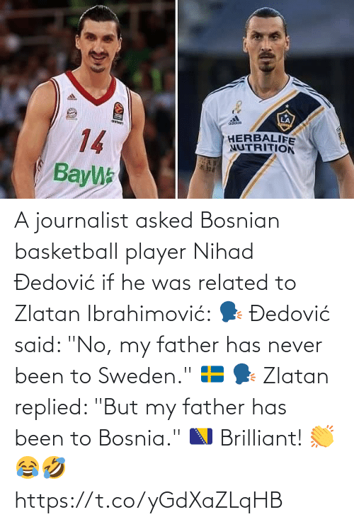 "He Was: A journalist asked Bosnian basketball player Nihad Đedović if he was related to Zlatan Ibrahimović:   🗣 Đedović said: ""No, my father has never been to Sweden."" 🇸🇪  🗣 Zlatan replied: ""But my father has been to Bosnia."" 🇧🇦  Brilliant! 👏😂🤣 https://t.co/yGdXaZLqHB"