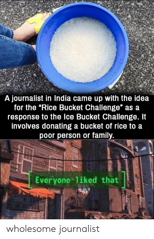 "Family, India, and Wholesome: A journalist in India came up with the idea  for the ""Rice Bucket Challenge"" as a  response to the Ice Bucket Challenge. It  involves donating a bucket of rice to a  poor person or family.  Everyone liked that wholesome journalist"