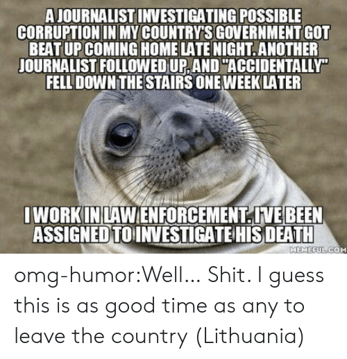 Lithuania: A JOURNALIST INVESTIGATING POSSIBLE  CORRUPTION IN MY COUNTRY'S GOVERNMENT GOT  BEAT UP COMING HOME LATE NIGHT.ANOTHER  JOURNALIST FOLLOWED UP, AND ACCIDENTALLY  FELL DOWN THE STAIRS ONE WEEKLATER  I WORK INLAWENFORCEMENTIVEBEEN  ASSIGNEDTOINVESTIGATE HIS DEATH  MEMEEULICOM omg-humor:Well… Shit. I guess this is as good time as any to leave the country (Lithuania)