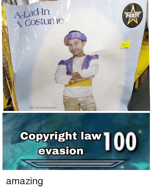 Memes, Amazing, and 🤖: A-Lad-In  A Costune  AR  $34.20  IG: riceorispyeet  Copyright law  evasion amazing