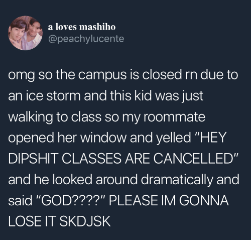 "God, Omg, and Roommate: a loves mashiho  @peachylucente  omg so the campus is closed rn due to  an ice storm and this kid was just  walking to class so my roommate  opened her window and yelled ""HEY  DIPSHIT CLASSES ARE CANCELLED""  and he looked around dramatically and  said ""GOD????"" PLEASE IM GONNA  LOSE IT SKDJSK"