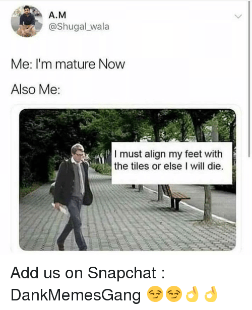 Memes, Snapchat, and 🤖: A.M  @Shugal wala  Me: I'm mature Now  Also Me:  I must align my feet with  the tiles or else I will die. Add us on Snapchat : DankMemesGang 😏😏👌👌
