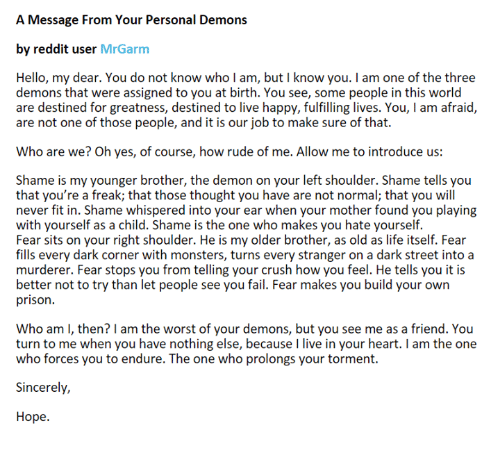 A Message From Your Personal Demons by Reddit User Mr Garm