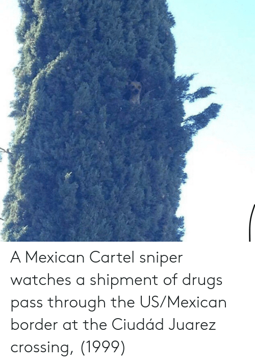 cartel: A Mexican Cartel sniper watches a shipment of drugs pass through the US/Mexican border at the Ciudád Juarez crossing, (1999)