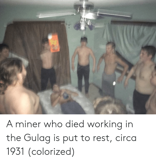 gulag: A miner who died working in the Gulag is put to rest, circa 1931 (colorized)