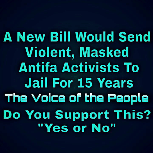 """Jail, Memes, and The Voice: A New Bill Would Send  Violent, Masked  Antifa Activists To  Jail For 15 Years  The Voice of the People  Do You Support This?  """"Yes or No'"""