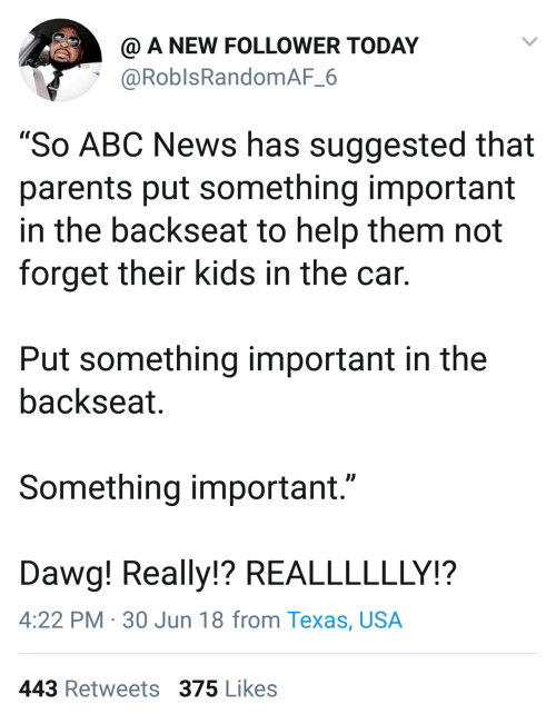 "dawg: @ A NEW FOLLOWER TODAY  @RoblsRandomAF_6  ""So ABC News has suggested that  parents put something important  in the backseat to help them not  forget their kids in the car.  Put something important in the  backseat.  Something important.""  Dawg! Really!? REALLLLLLY!?  4:22 PM · 30 Jun 18 from Texas, USA  443 Retweets 375 Likes"