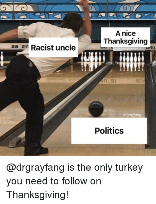 Memes, Politics, and Thanksgiving: A nice  Thanksgiving  28 2 Racist uncle  drgrayfang  Politics @drgrayfang is the only turkey you need to follow on Thanksgiving!