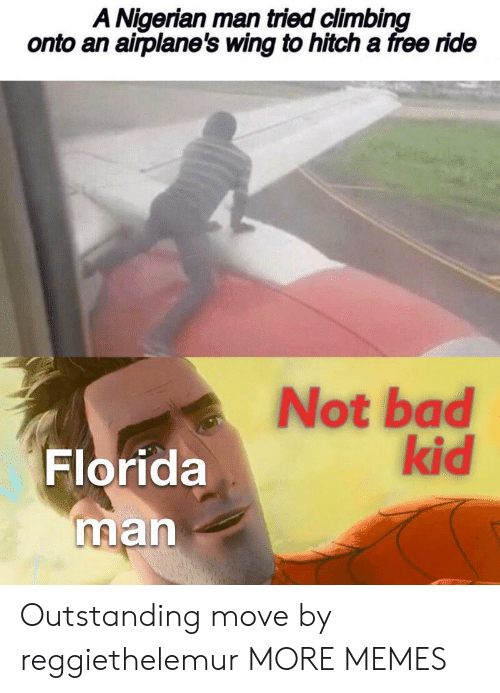 Climbing: A Nigerian man tried climbing  onto an airplane's wing to hitch a free ride  Not bad  kid  Florida  man Outstanding move by reggiethelemur MORE MEMES