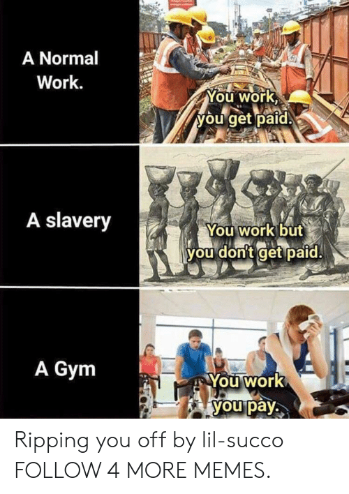 Dank, Gym, and Memes: A Normal  Work.  You work  you get paid.  A slavery  You work but  you don't get paid.  A Gym  You work  you pay Ripping you off by lil-succo FOLLOW 4 MORE MEMES.