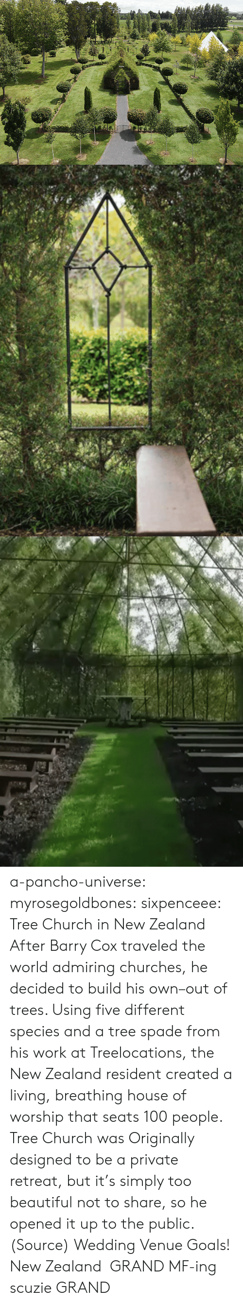Anaconda, Beautiful, and Church: a-pancho-universe:  myrosegoldbones: sixpenceee:  Tree Church in New Zealand After Barry Cox traveled the world admiring churches, he decided to build his own–out of trees. Using five different species and a tree spade from his work at Treelocations, the New Zealand resident created a living, breathing house of worship that seats 100 people. Tree Church was Originally designed to be a private retreat, but it's simply too beautiful not to share, so he opened it up to the public. (Source)  Wedding Venue Goals!  New Zealand GRAND MF-ing scuzie GRAND