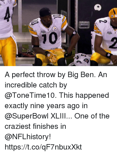 Memes, Superbowl, and 🤖: A perfect throw by Big Ben. An incredible catch by @ToneTime10.  This happened exactly nine years ago in @SuperBowl XLIII... One of the craziest finishes in @NFLhistory! https://t.co/qF7nbuxXkt