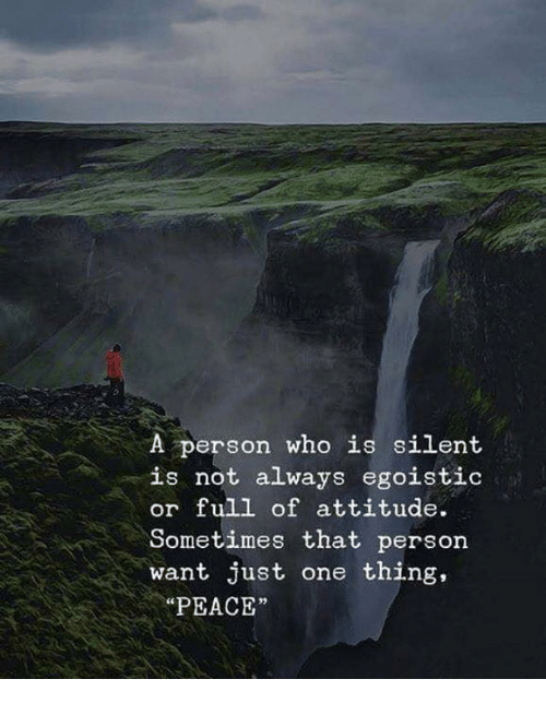 """Attitude, Peace, and Who: A person who is silent  is not always egoistic  or full of attitude.  Sometimes that person  want just one thing,  """"PEACE"""