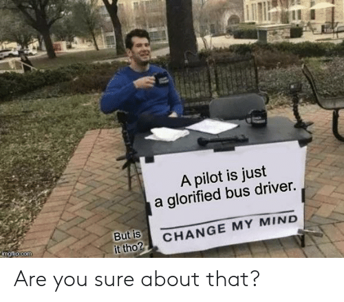 Change, Mind, and Com: A pilot is just  a glorified bus driver.  But is  it tho?  CHANGE MY MIND  imgflip.com Are you sure about that?