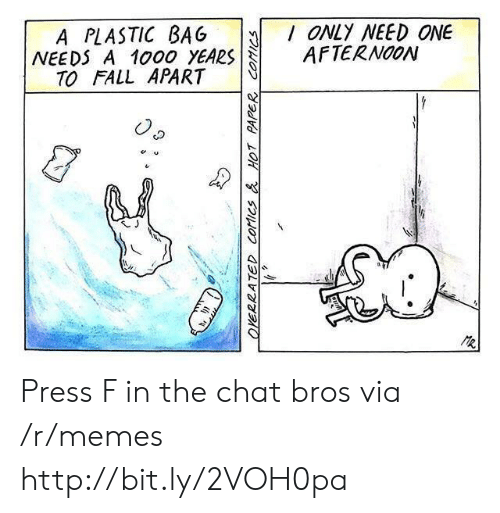 Fall, Memes, and Chat: A PLASTIC BAG ONLY NEED ONE  NEEDS A 1000 YEARSAFTERNOON  TO FALL APART Press F in the chat bros via /r/memes http://bit.ly/2VOH0pa