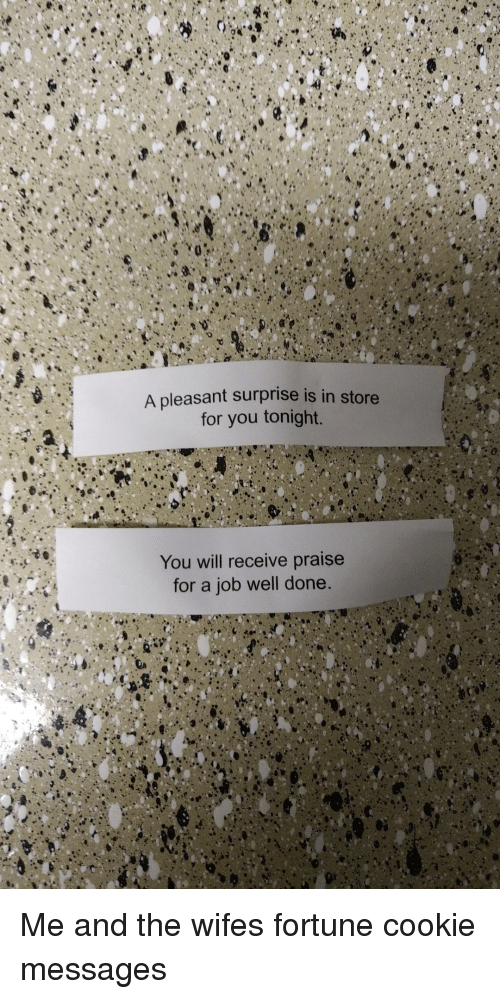 Wife, Job, and Cookie: A pleasant surprise is in store  for you tonight.  You will receive praise  for a job well done. Me and the wifes fortune cookie messages