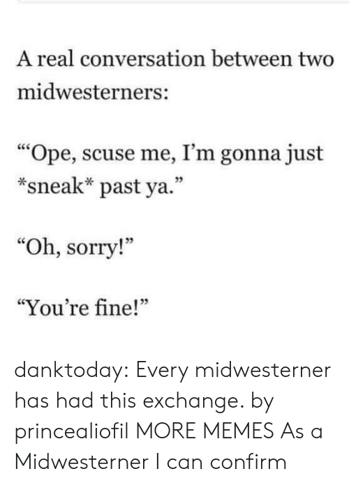"Dank, Memes, and Sorry: A real conversation between two  midwesterners:  ""Ope, scuse me, I'm gonna just  *sneak* past ya.""  05  ""Oh, sorry!""  ""You're fine!""  05 danktoday:  Every midwesterner has had this exchange. by princealiofil MORE MEMES  As a Midwesterner I can confirm"