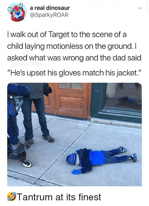"""Dad, Dinosaur, and Memes: a real dinosaur  @SparkyROAR  I walk out of Target to the scene of a  child laying motionless on the ground. I  asked what was wrong and the dad said  """"He's upset his gloves match his jacket."""" 🤣Tantrum at its finest"""