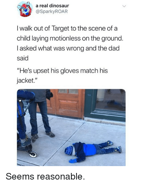 """Dad, Dinosaur, and Funny: a real dinosaur  @SparkyROAR  I walk out of Target to the scene of a  child laying motionless on the ground  I asked what was wrong and the dad  said  """"He's upset his gloves match his  jacket."""" Seems reasonable."""