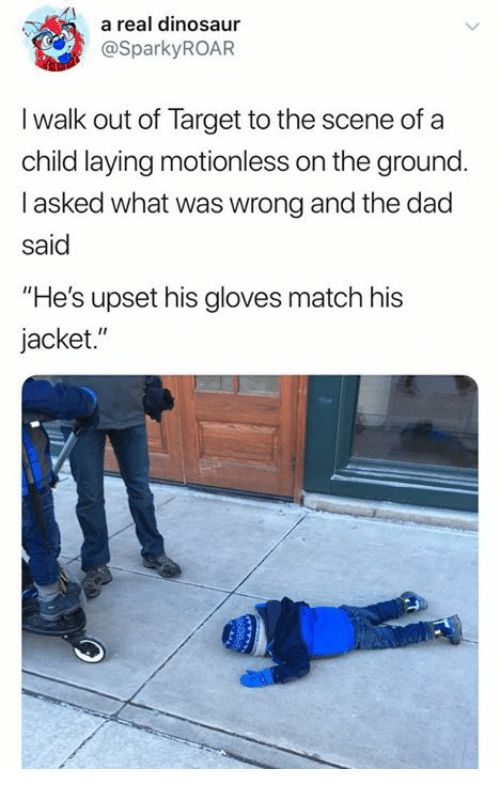 """Dad, Dinosaur, and Target: a real dinosaur  @SparkyROAR  I walk out of Target to the scene of a  child laying motionless on the ground.  I asked what was wrong and the dad  said  """"He's upset his gloves match his  jacket."""