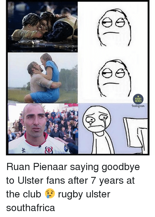 After 7: a  RUGBY  MEMES  lnstagnam Ruan Pienaar saying goodbye to Ulster fans after 7 years at the club 😢 rugby ulster southafrica