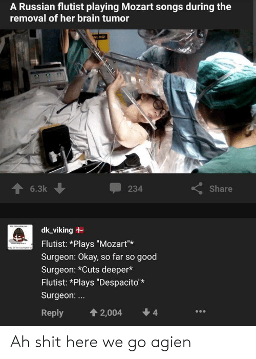 """Shit, Brain, and Good: A Russian flutist playing Mozart songs during the  removal of her brain tumor  NL NG  6.3k  Share  234  dk_viking  Flutist: *Plays """"Mozart""""  The y  Surgeon: Okay, so far so good  Surgeon: *Cuts deeper*  Flutist: *Plays """"Despacito*  Surgeon:...  4  4 2,004  Reply Ah shit here we go agien"""