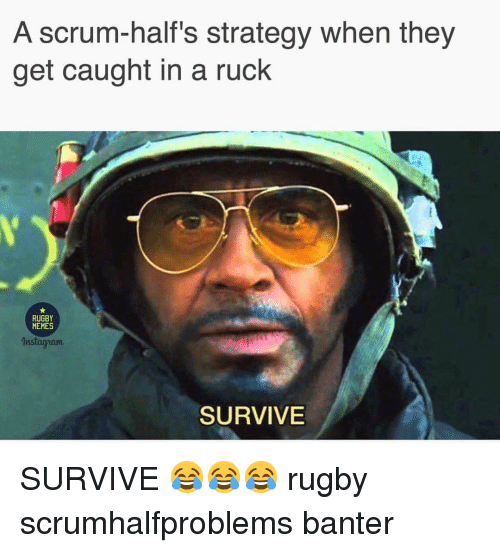 halfs: A scrum-half's strategy when they  get caught in a ruck  RUGBY  MEMES  nstagaum  SURVIVE SURVIVE 😂😂😂 rugby scrumhalfproblems banter