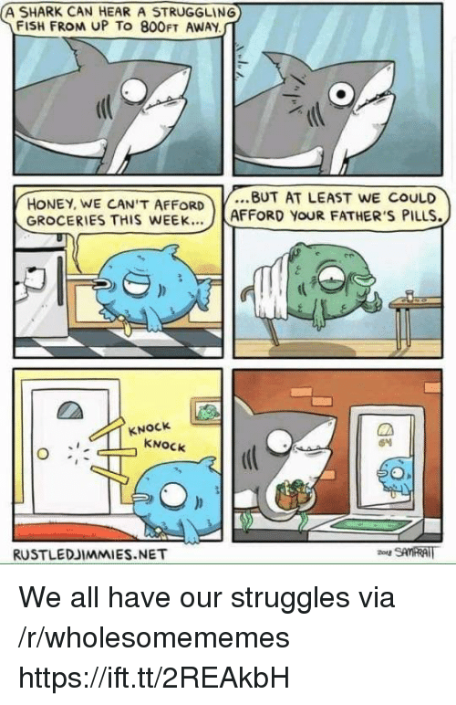Shark, Fish, and Net: A SHARK CAN HEAR A STRUGGLING  FISH FROM UP TO 800FT AWAY  체(  HONEY, WE CANT AFFORDBUT AT LEAST WE CoULD  GROCERIES THIS WEEK..  AFFORD YOUR FATHERS PILLS.  KNOCk  KNOCK  RUSTLEDJIMMIES.NET  SAMRAT We all have our struggles via /r/wholesomememes https://ift.tt/2REAkbH