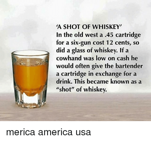 """Oftenly: A SHOT OF WHISKEY  In the old west a .45 cartridge  for a six-gun cost 12 cents, so  did a glass of whiskey. If a  cowhand was low on cash he  would often give the bartender  a cartridge in exchange for a  drink. This became known as a  shot"""" of whiskev. merica america usa"""