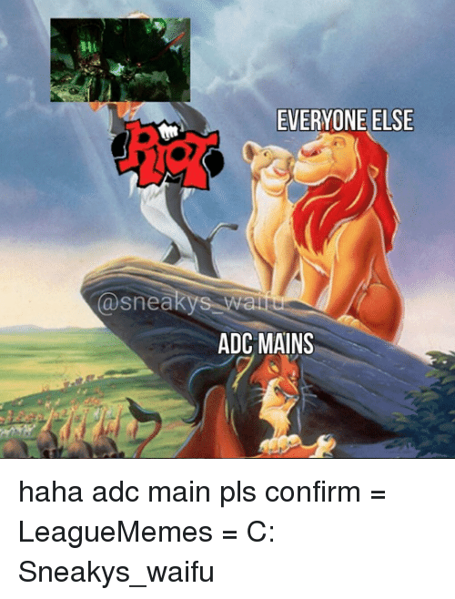 Memes, Waifu, and 🤖: (a snea  EVERYONE ELSE  ADC MAINS haha adc main pls confirm  = LeagueMemes =  C: Sneakys_waifu