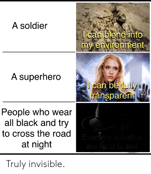 Blend: A soldier  l can blend into  my environment  A superhero  can be ully  transparent  People who wear  all black and try  to cross the road Evenmy subtitles  at night  are hard to see Truly invisible.